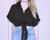 Sally Black Tie Crop Top