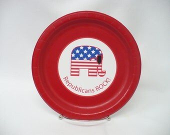 """Republicans ROCK! Sunglasses-Wearing Republican Elephant Personalized 9"""" or 7"""" Paper Plates. Can Add Your Favorite Candidate's Name!!"""