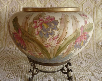 FRANZ ANTON MEHLEM Bonn Germany 1800's Large Pottery Cache Pot Jardiniere  Planter 1755 depicting Cactus Flowers with Brass Stand