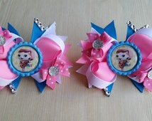 Sheriff Callie girls hair bows. Set of 2. Perfect for piggy tails :)