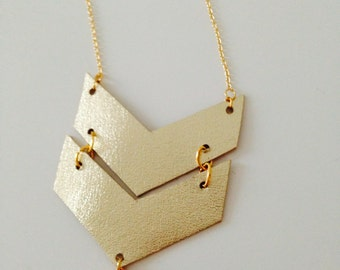 NEW COLLECTION FW!  Chevron Golden leather and gold charm necklace
