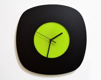 Simply Lime and Black Rhombus  - Wall Clock