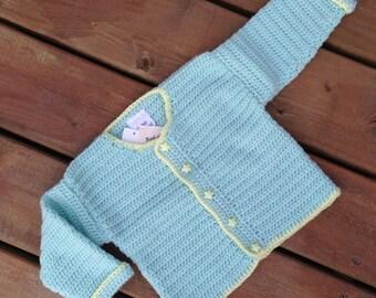 Size 1, Hand Crochet Sweater, Children's Sweater, Children's cardigan, girl sweater