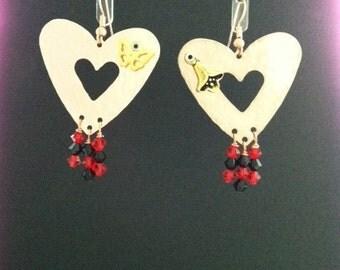 Copper Hearts with Swarovski Crystals