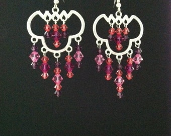 Chandelier Earrings with Pink and Purple Swarovski Crystals