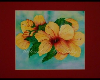 YELLOW HIBISCUS  watercolor print. 11x14 matted