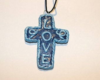 Polymer Clay Blue Cross (LOVE)