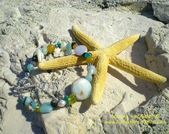 QUIET SEASCAPE Bracelet with Amazonite, Pearl, Turquoise, Obsidian and Mother of Pearl.