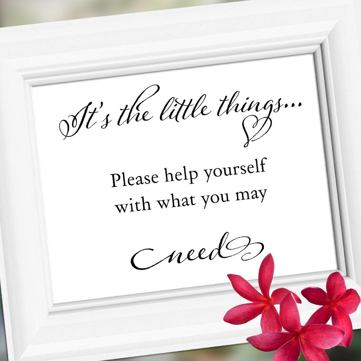 Wedding Bathroom Basket Sign Its The Little Things Wedding