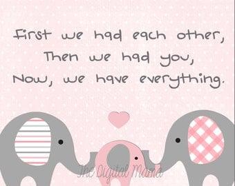 8X10 Baby Girl Nursery Art - Digital Download - Pink & Gray - Elephants