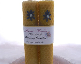 Hand-Rolled Natural Beeswax candles with Wax Flower (Pair)
