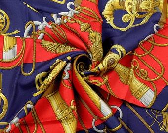 "HERMES SCARF Silk ""Cliquetis"" by Julia Abadie 90cm Carre 100% Auth"