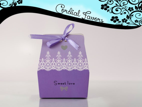 SALE25 PURPLE Sweet Love Wedding Favor Box, candy box, gift boxes ...