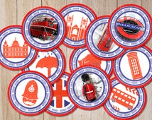 "London Party Decorations, British Cupcake toppers Circles, England UK stickers, Travel Favor Tags PRINTABLE labels with ""LONDON"" wording"