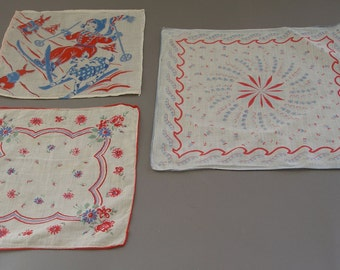 Trio of 1940s Red, White, and Blue Cotton Handkerchiefs