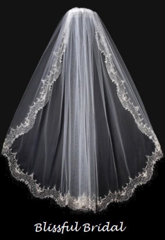 Embroidered beaded edge wedding veil vintage