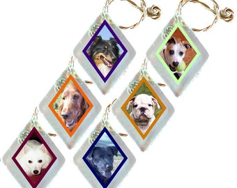 "Wine Glass Charms ""Dogs"" from rescued, repurposed window glass~ When you don't want to share, mark your glass!"