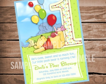 Winnie the Pooh 1st Birthday Invitation