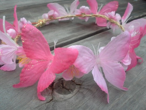 Butterfly Crown, butterfly Halo, Festival Wear, EDC, Coachella, butterfly headband,Ultra Music , Rave,Butterfly, Fairy, Hot Pink, Glitter,