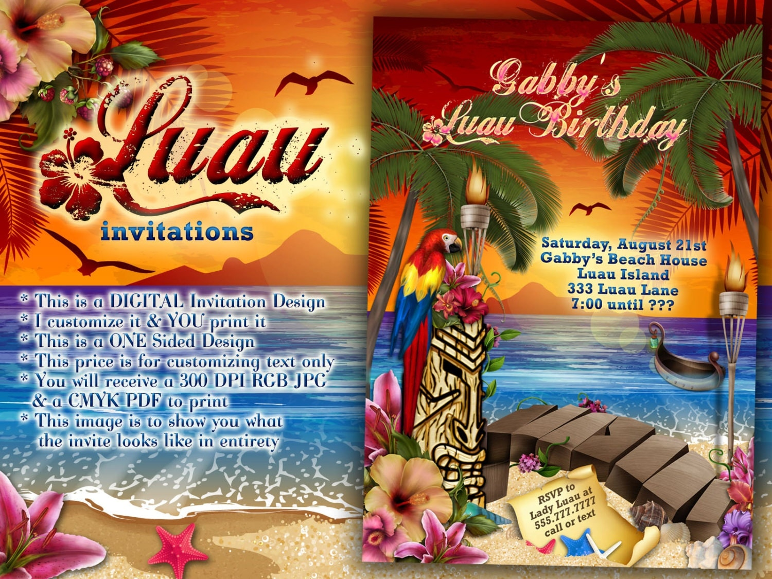Luau Party Invitations Hawaiian Theme Party Luau Party