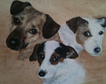 Pet portraits, acrylic on box canvas.