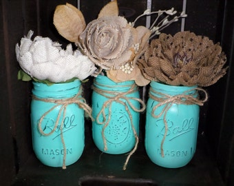 Set of three rustic turquoise mason jars