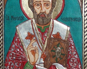 Hand Made Orthodox Relief Icon Saint Nicholas