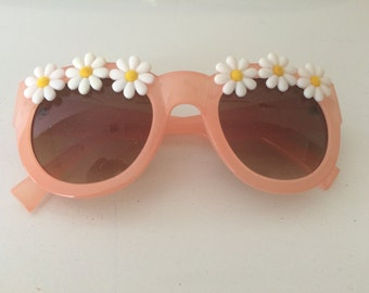 Floral Sunglasses--Coral Retro Sunglasses with White Daisies