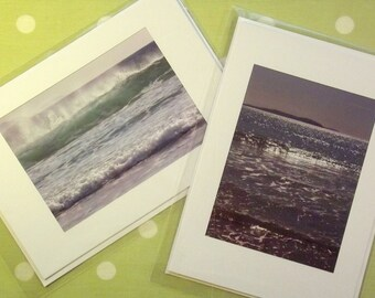 Set of 2 handmade greetings cards: seascapes. A5 format, window mounted. Individual cards also available