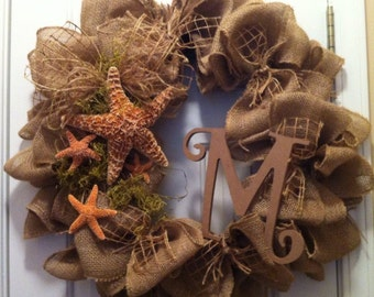 "Starfish and Friends 24"" Burlap Wreath with Initial of Choice"