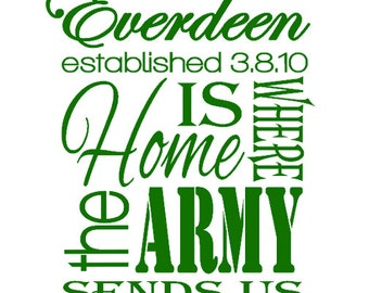 Customized Home Is Where The Army Sends Us Subway Art Vinyl Decal - FREE Shipping - Milso