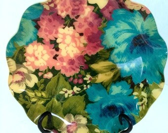 Vintage Collectors 1970s Hardy and Glenwood Fab The Fabric Serving Tray in Chic Floral Pattern