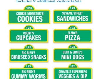 Sesame Street Printable Food Labels / 20 and Custom Labels - Sesame Street Birthday Party DIY / Party Signs / Food Signs