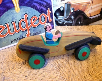 Collection wooden car: Bugatti. 30's - Wooden toys. Handmade