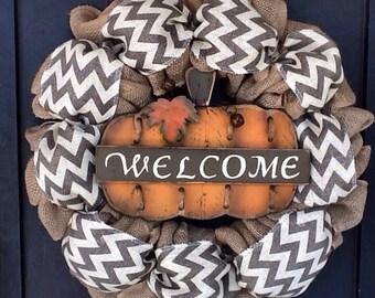 Chevron Wreath, Fall Wreath, Fall Burlap Wreath