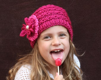 Knitted hat. Girl burgundy hat. Flower hat. Crochet hat. Age 3-4