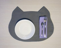 handmade Cat placemat in grey color + napkin - Scodinzolo charity shop helps organizations for the animal protection