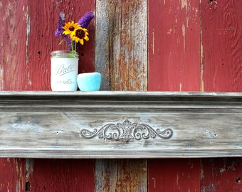 Architectural Shelf Farmhouse Mantel Shelf of Reclaimed Wood - French Country Floating Shelf
