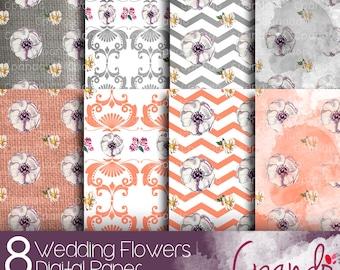 Wedding Flowers 8 Digital Paper