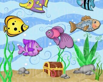 Clip Art Fish Tank Clip Art aquarium clipart etsy under the sea digital clip art set personal and commercial fish ocean tank treasure chest instant download