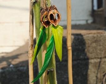 Serpentine & Green Plume Feather - Walnut Heart Earrings
