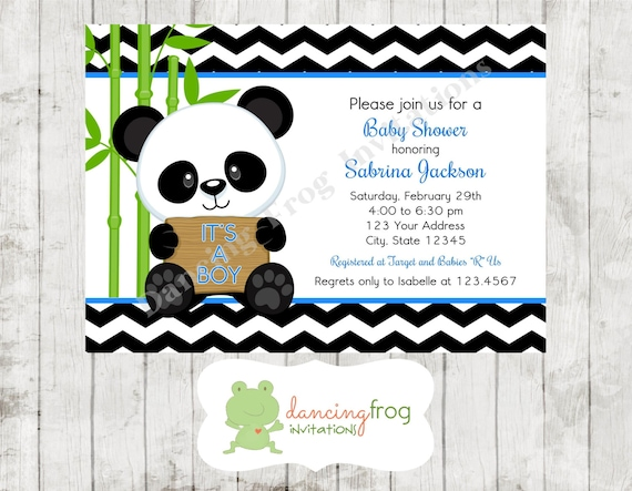 Panda Bear Pink Or Blue Baby Shower Invitations Printed