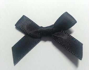 10 pcs Black Satin Bows, Embellishments, Satin Bows, Craft Supplies, Craft Bows, Sewing Applique Bows Card Craft Bows Mini Satin Bows