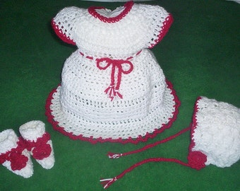 White and red baby dress with matching bonnet and booties. Newborn Christmas dress set 0-3 months. Christening dress and holiday pictures!