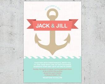 Nautical Wedding Invitation | Printable DIY | Color Customizable