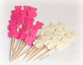 Mixed Hot Pink & Cream Teddy Bear Cupcake Toppers, Food Picks-Set of 24 pcs
