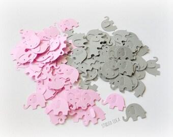 120 Mixed Pink & Grey  Elephant Cut outs, Confetti - Set of 120 pcs