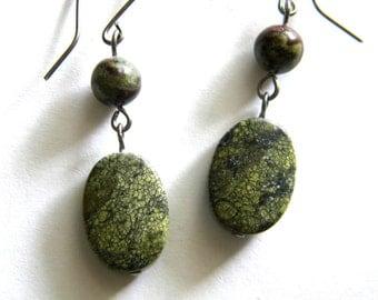 Serpentine and Bloodstone Earrings on Niobium