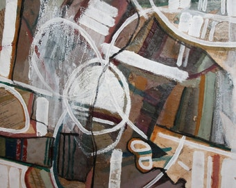 European vintage abstract oil / collage  painting
