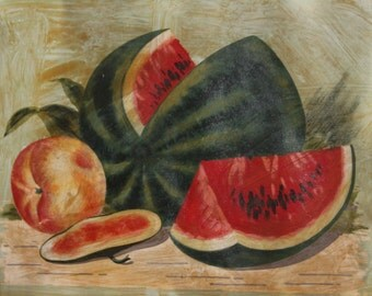 European art antique watermelon still life oil painting